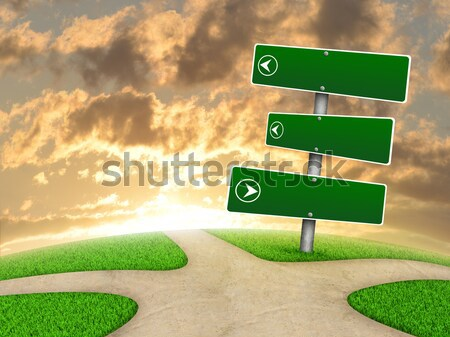 Verde sinais de trânsito hills nuvens grama estrada Foto stock © cherezoff