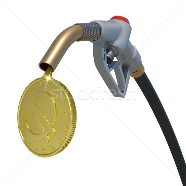 Arany Euro érme folyik üzemanyag fúvóka Stock fotó © cherezoff