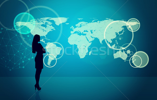 Businesswomans silhouette with molecule Stock photo © cherezoff