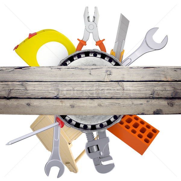 Hand tools with wooden deck on white Stock photo © cherezoff