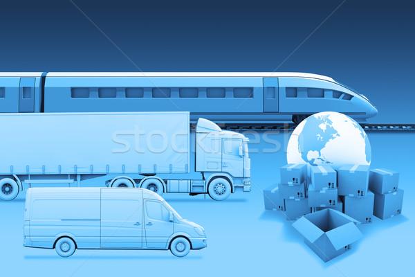 Szállítás Föld dobozok kék elemek kép Stock fotó © cherezoff