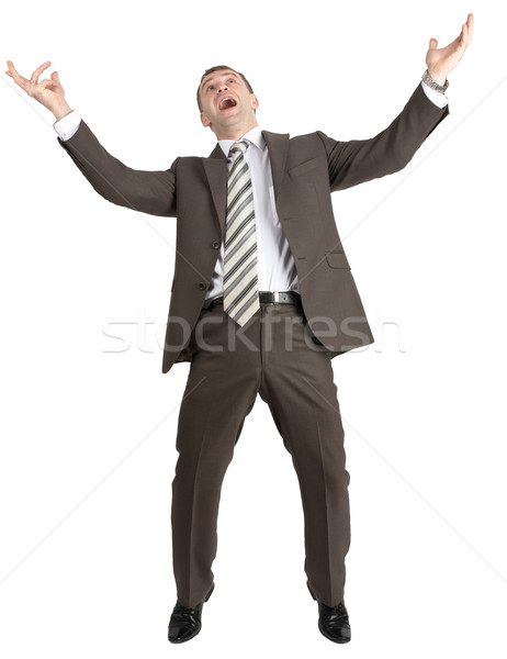 üzletember pózol karok a magasban izolált fehér bank Stock fotó © cherezoff