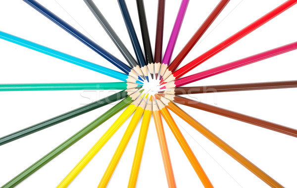 Colorful crayons in round shape Stock photo © cherezoff