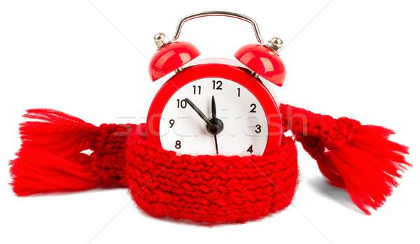 Stock photo: Alarm clock wearing red scarf