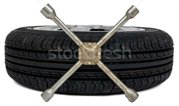 Auto band schroevendraaier witte zwarte wiel Stockfoto © cherezoff