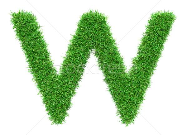 Yeşil ot w harfi yalıtılmış beyaz dizayn Stok fotoğraf © cherezoff
