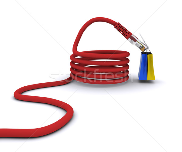 shopping on the Internet. power cord keeps the bags from the store Stock photo © cherezoff