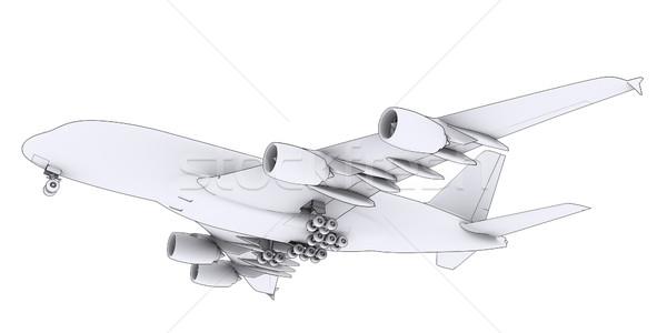 Nagy fehér repülőgép izolált render vonalak Stock fotó © cherezoff