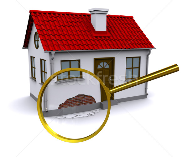 Lupa avarie perete 3D acasă casă Imagine de stoc © cherezoff