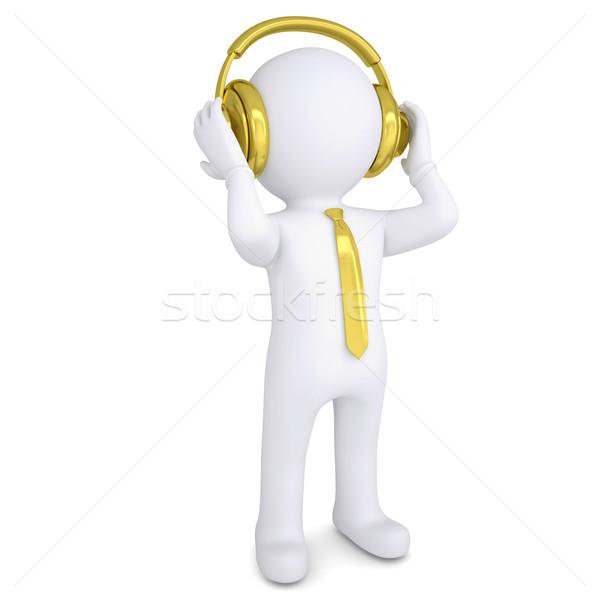 3D biały człowiek złoty słuchawki odizolowany oddać Zdjęcia stock © cherezoff