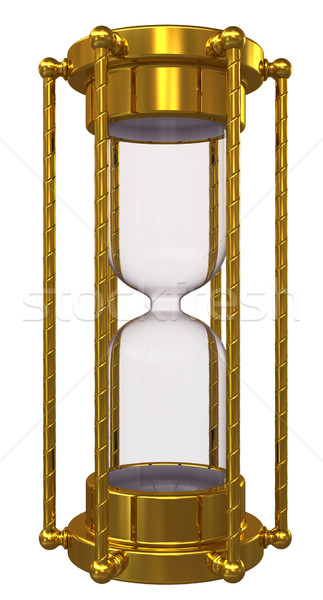 Gold hourglass with no sand. Isolated on white background Stock photo © cherezoff