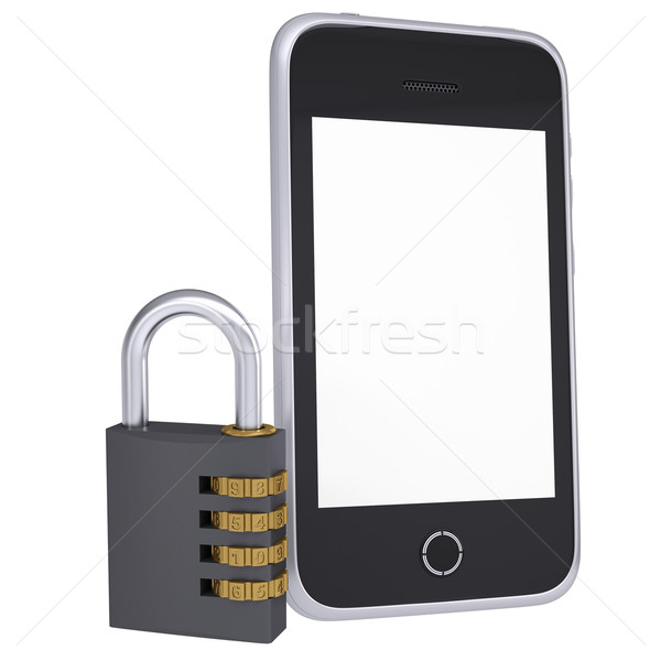 Code lock near smartphone Stock photo © cherezoff