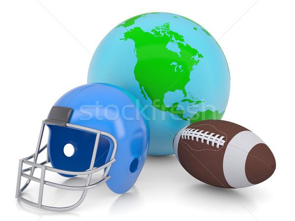 Foto stock: Terra · futebol · capacete · bola · isolado · tornar