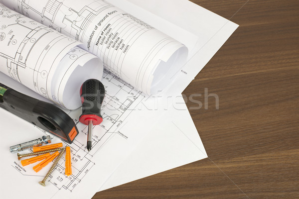 Construction dessins bureau constructeur tournevis niveau Photo stock © cherezoff