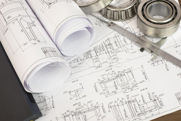 Construction drawings, caliper and bearing Stock photo © cherezoff