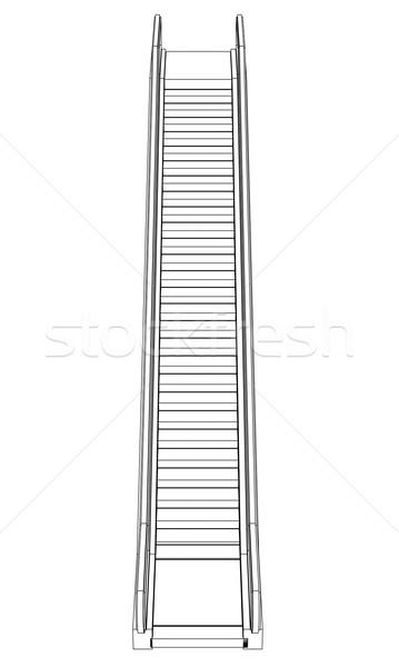 Croquis escalator fil cadre blanche Photo stock © cherezoff