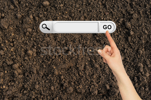 Human hand indicates the search bar in browser Stock photo © cherezoff