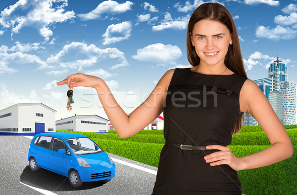 女性 車のキー 手 小 道路 ストックフォト © cherezoff