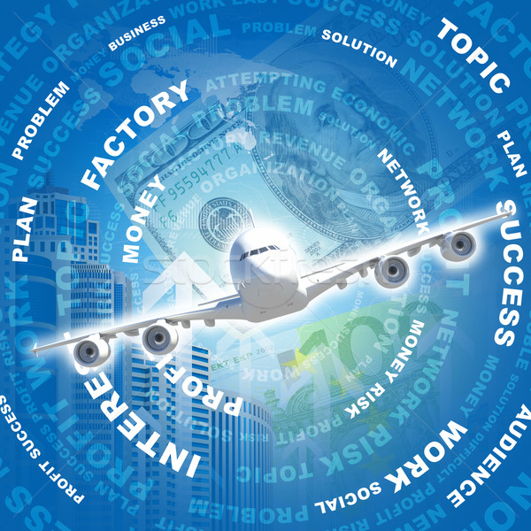 Airplane against business words and money Stock photo © cherezoff