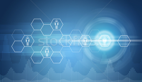 Transparent hexagons, glow circles and graphs Stock photo © cherezoff