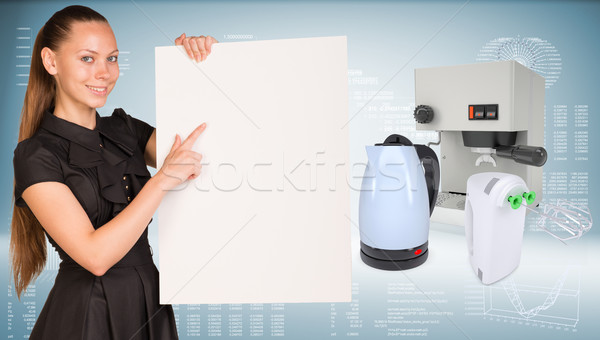 Empresária manter papel folha elétrico Foto stock © cherezoff