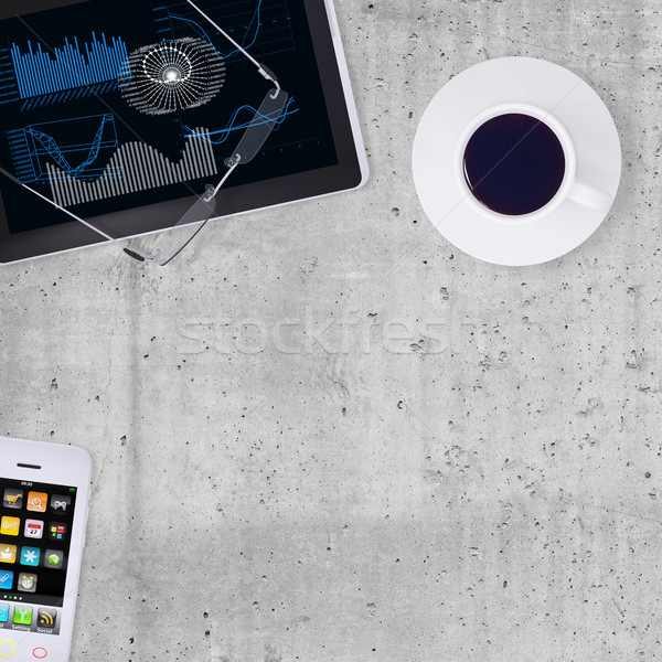 Tablet PC, smartphone, and cup of coffee Stock photo © cherezoff