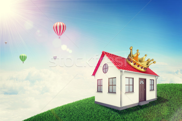 White house with red roof and crown on green grassy hill. Background sun shines brightly, flying hot Stock photo © cherezoff