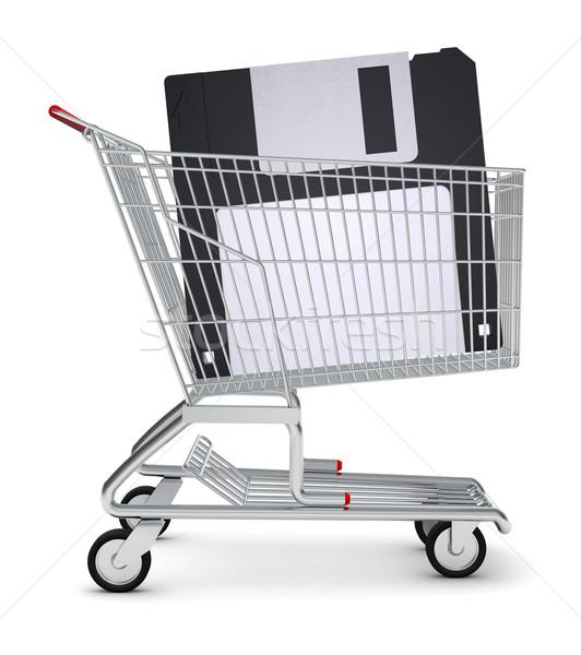Floppy in shopping cart Stock photo © cherezoff