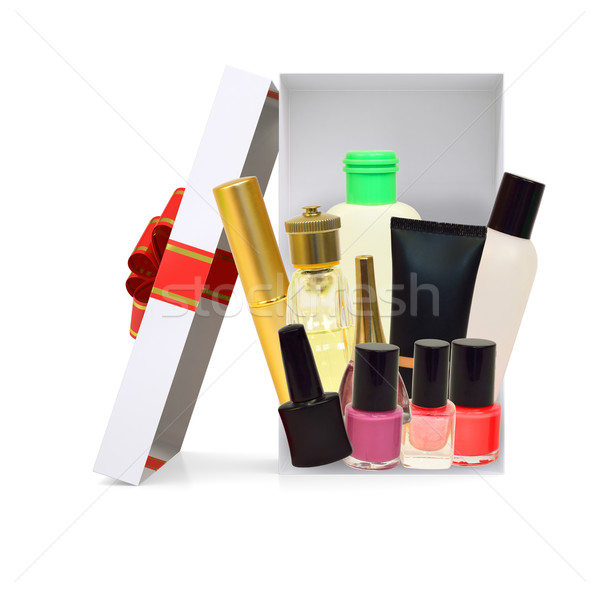Open gift box with cosmetics on white Stock photo © cherezoff