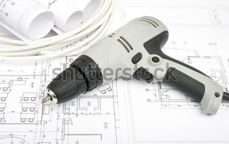 Stockfoto: Grijs · elektrische · schroevendraaier · helm