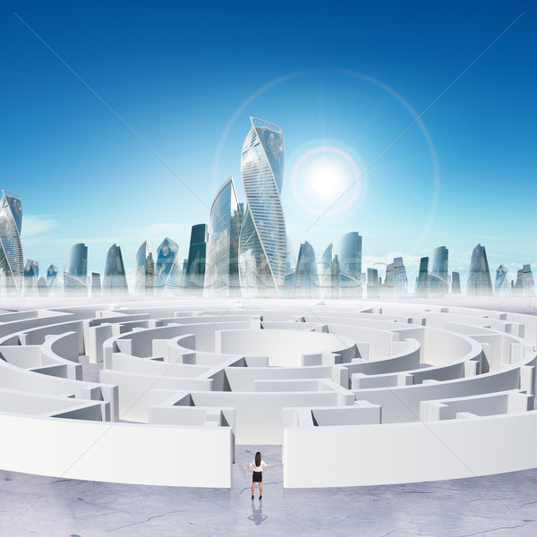 Business cityscape with labyrinth and businesslady Stock photo © cherezoff