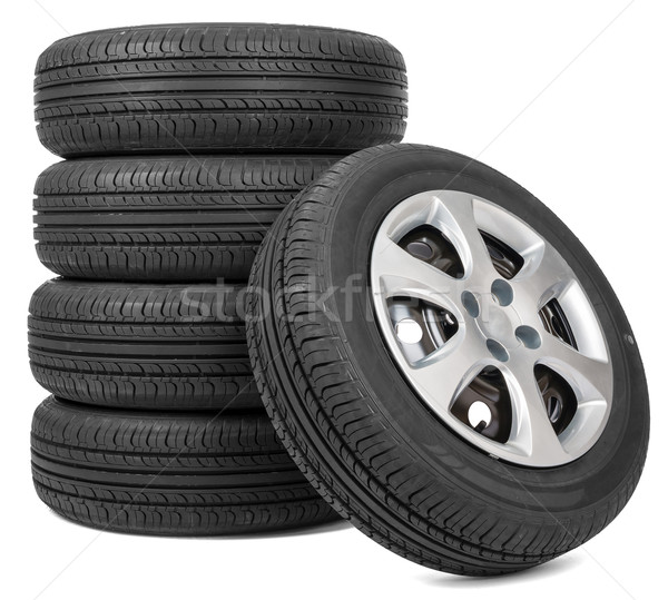 Stock photo: Stack of five wheels
