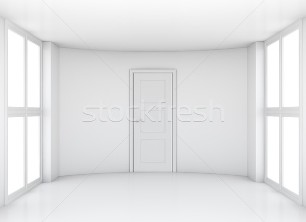 пусто выставка комнату Windows двери 3D Сток-фото © cherezoff