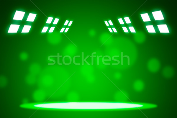 Spotlight beams on smog green background Stock photo © cherezoff