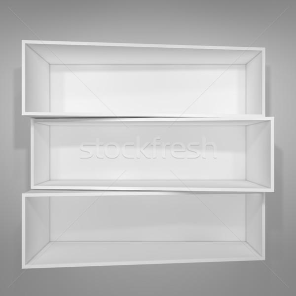 Vazio branco prateleira de livros cinza ilustração 3d casa Foto stock © cherezoff