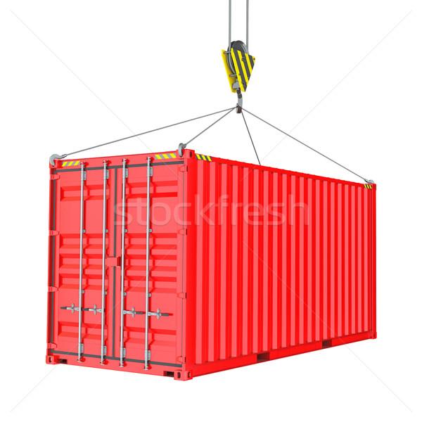 ストックフォト: 赤 · 貨物 · コンテナ · フック · 孤立した · 白