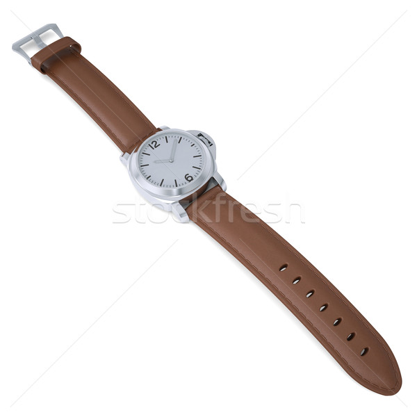 Mechanical wristwatch with a leather strap Stock photo © cherezoff
