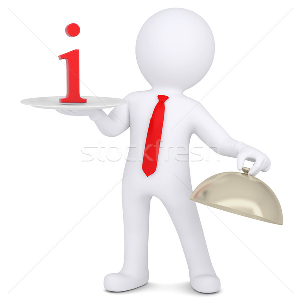 3d man holding a sign I on the dish Stock photo © cherezoff