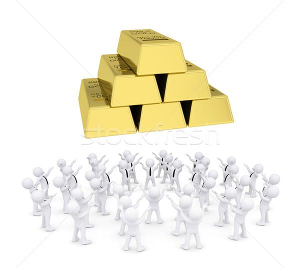 Group of white people worshiping gold bricks Stock photo © cherezoff