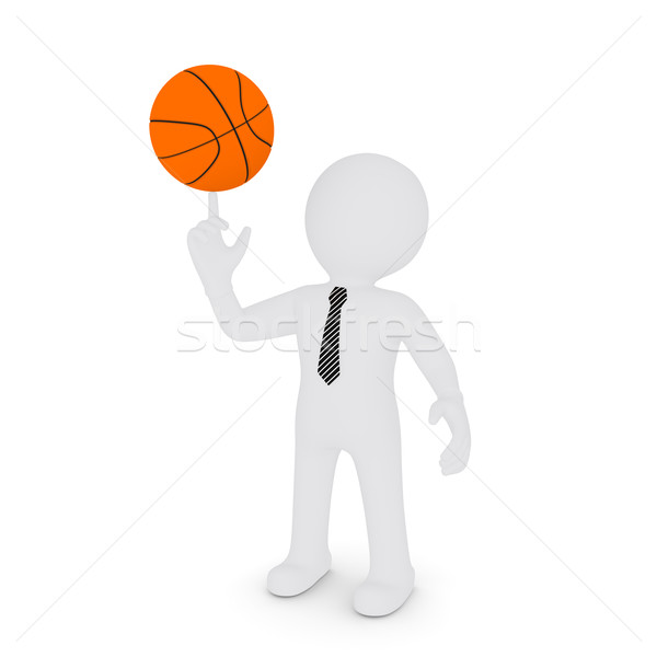 The white man keeps his finger on a basketball Stock photo © cherezoff