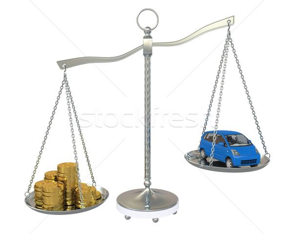 Dinheiro carro ouro saldo balança isolado Foto stock © cherezoff