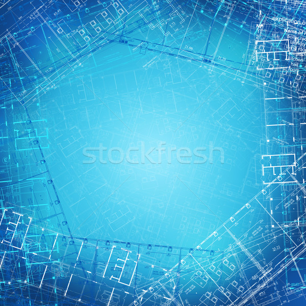 Arquitetônico desenhos azul escritório construção abstrato Foto stock © cherezoff