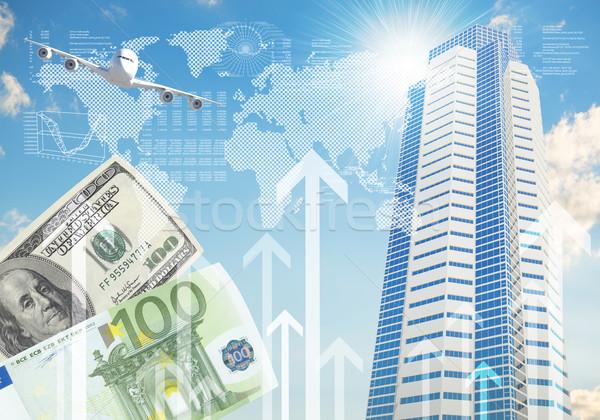 Aereo grattacieli frecce crescita business costruzione Foto d'archivio © cherezoff