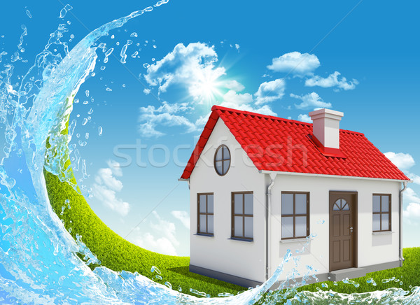 Casa verde pradera cielo azul primavera Foto stock © cherezoff
