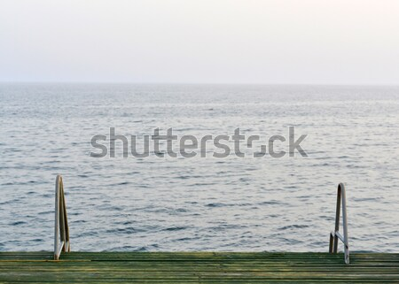 Wooden pier with metal handrails Stock photo © cherezoff