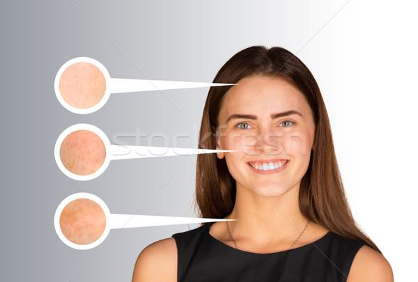Bella zoom pelle ritratto faccia Foto d'archivio © cherezoff