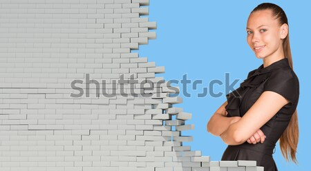 Beautiful businesswoman smiling and looking at camera. Dilapidated brick wall, green meadow with sky Stock photo © cherezoff