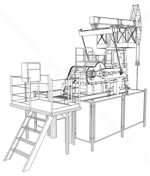 Olie pompen vector 3D gedetailleerd Stockfoto © cherezoff