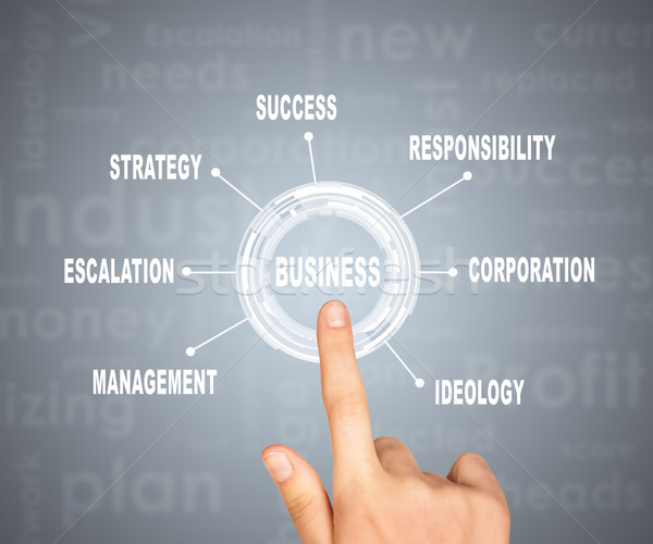 Abstract concept. Hand pointing on word business Stock photo © cherezoff