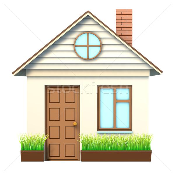 Casa blanca marrón techo aislado blanco frente Foto stock © cherezoff